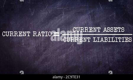 Current ratio equal to current assets upon current liability business equation word presented with digital text art black chalkboard pattern for learn - Stock Photo