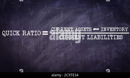 Quick ration equal to current assets minus inventory upon current liabilities business equation word presented with digital text art black chalkboard - Stock Photo