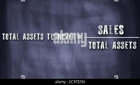 Total assets turnover equal to sales upon total assets business equation word presented with digital text art black chalkboard pattern for learning pu - Stock Photo