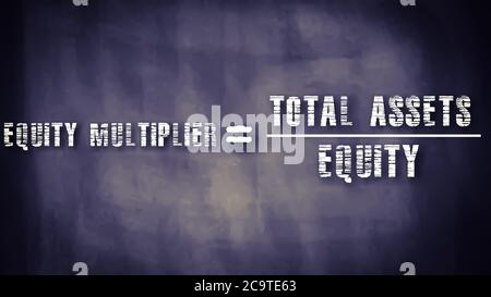 Equity multiplier equal to total assets upon equity business equation word presented with digital text art black chalkboard pattern for learning purpo - Stock Photo