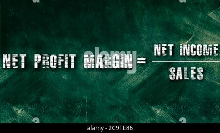 Net profit margin equal to net income upon sales business equation word presented with digital text art black chalkboard pattern for learning purpose. - Stock Photo