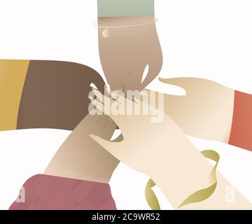Hands of diverse group of women putting together. Concept of sisterhood, girl power, friendship, support and cooperation. - Stock Photo