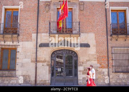 Valladolid, Spain - July 18th, 2020: Palacio de Pimentel, where Felipe II was born. Now housing the Diputacion Provincial of Valladolid, Spain Stock Photo