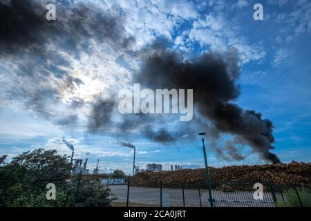 Wismar, Germany. 03rd Aug, 2020. Dark clouds of smoke rise from a fire over a wood storage area at the seaport. Fire brigades from Wismar are currently putting out the fire. Credit: Jens Büttner/dpa-Zentralbild/dpa/Alamy Live News