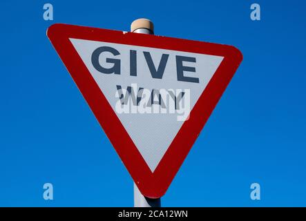 Give way road sign in Maghull May 2020 - Stock Photo