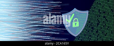 Cyber security concept. Shield, lock symbol numbers strings, white, green, red, numbers on blue background.
