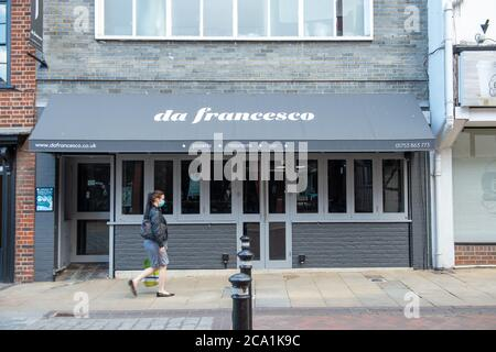 Windsor, Berkshire, UK. 3rd August, 2020. The da Francesco restaurant in Windsor has closed permanently. Credit: Maureen McLean/Alamy - Stock Photo