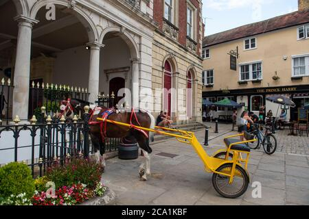 Windsor, Berkshire, UK. 3rd August, 2020. Traveller pony and traps outside the Prince Harry pub in Windsor this evening. Credit: Maureen McLean/Alamy - Stock Photo