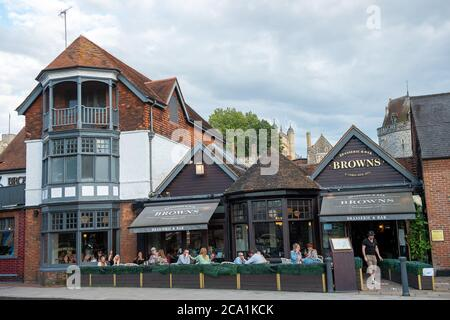 Windsor, Berkshire, UK. 3rd August, 2020. Browns Brasserie and Bar next to the River Thames in Windsor this evening was busy as customers make the most of the new Eat Out to Help Out restaurant discount scheme which was launched today. Credit: Maureen McLean/Alamy - Stock Photo