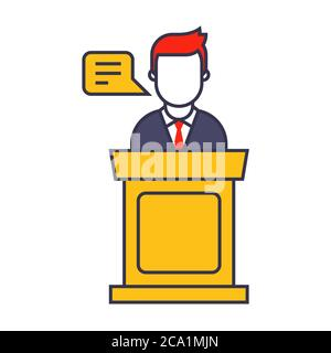 a man in a business suit behind the podium makes a speech. Flat character vector illustration. - Stock Photo