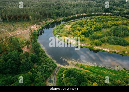 Aerial View Green Forest And River Landscape In Spring Evening. Top View Of Beautiful European Nature From High Attitude In Summer Season. Drone