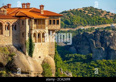 Greece. Summer sunny day in Kalambaka. Balconies of a Rock Monastery of Meteora.