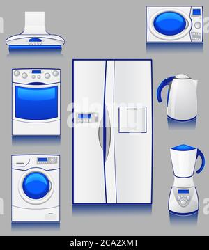 set of icons domestic technique for a kitchen. - Stock Photo