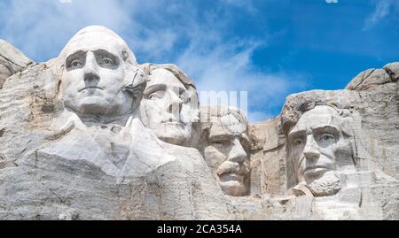 Famous Landmark and Sculpture - Mount Rushmore National Monument, near Keystone, South Dakota - USA. - Stock Photo