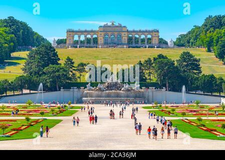 VIENNA, AUSTRIA - 23 JULY, 2019: The Gloriette in Schonbrunn Palace Gardens, Vienna Austria