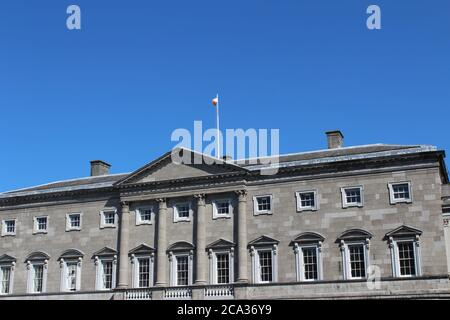 Leinster House in Dublin, home of the Irish Parliament. - Stock Photo