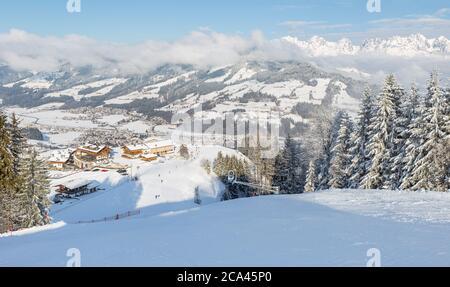 Panoramic view of Ski slopes at Kirchberg in Tirol, part of the Kitzbühel ski area in Austria.