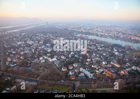 Aerial view of Vienna in the evening . Panorama of Austrian Capital City