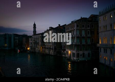 View of the  Canal Grande and its palaces in Venice at sunset from the Rialto Bridge