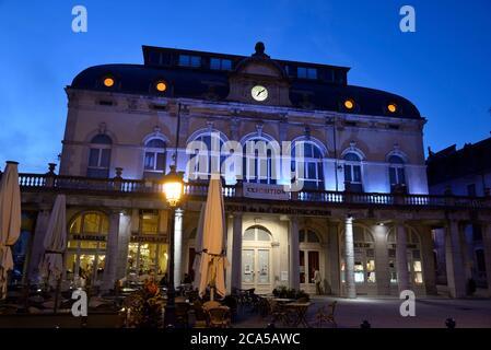 France, Jura, Lons le Saulnier, Place de la Liberte, the theater, Grand cafe de Strasbourg, tourist office - Stock Photo