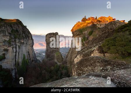 Greece, Thessaly, Meteora, classified World Heritage by UNESCO, the Grand Meteora Monastery (Megalo Meteoro) - Stock Photo