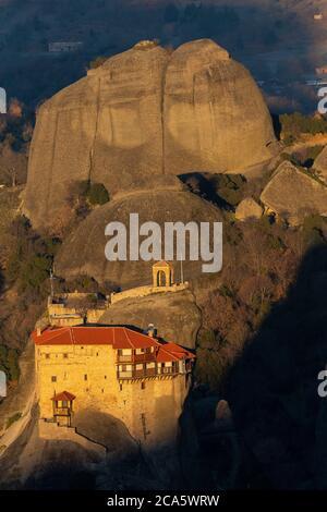 Greece, Thessaly, Meteora, classified World Heritage by UNESCO, Agios Nikolaos Monastery - Stock Photo