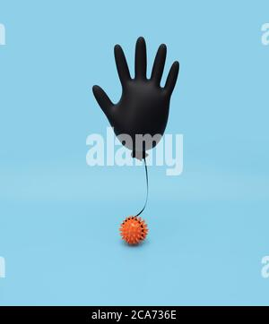Black inflated surgical glove on a blue background with a model of the virus. Prevention of coronavirus, covid-19. Minimal healthcare concept.
