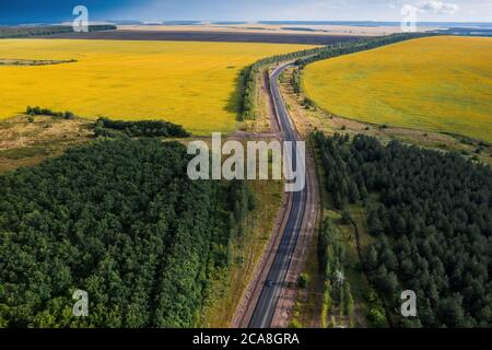 Road among rural fields. High quality photo - Stock Photo