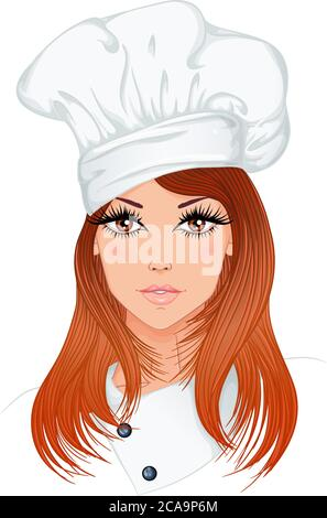 Profession. Portrait of a young beautiful woman chef with long red hair in chef hat. Vector illustration isolated on white background. - Stock Photo