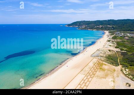Var department, Ramatuelle - Saint Tropez, Aerial view of Pampelonne beach, the famous beach located on French Riviera