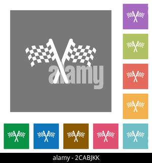 Two chequered flags flat icons on simple color square backgrounds - Stock Photo