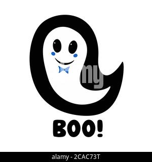 Cute boy ghost with blue bow tie and boo word. Halloween greeting card. Isolated on white background. Vector stock illustration.