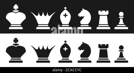 Black and white magnetic chess pieces silhouettes