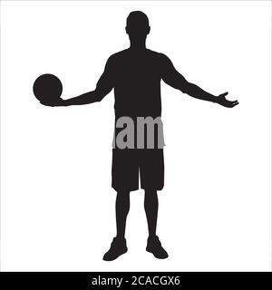 Professional basketball player silhouette standing with ball in hand, vector illustration - Stock Photo