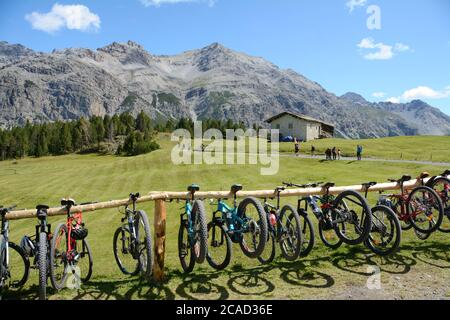 Mountain bike rack on the Alps of Lombardy in Italy in a summer trip from Bormio