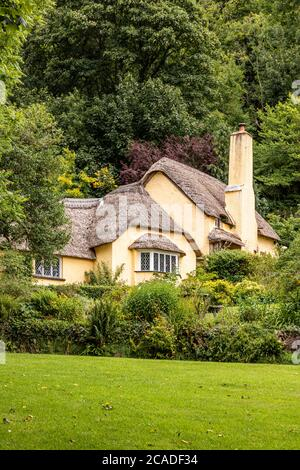 Exmoor National Park - A typical thatched cottage in the village of Selworthy, Somerset UK