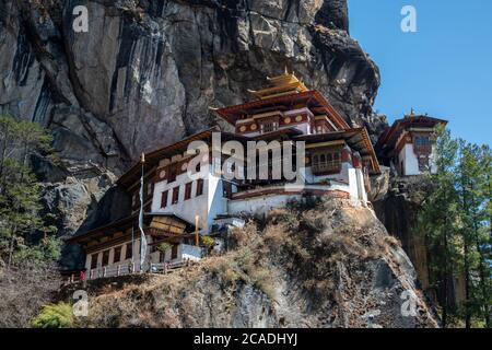 Bhutan, Paro. Taktshang Goemba or Tiger's Nest Monastery, one of Bhutan's most sacred religious sites.