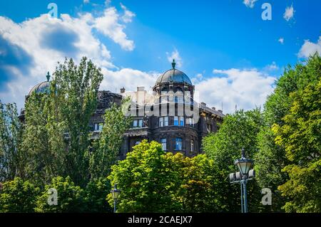Budapest, Hungary, Aug 2019, view of the upper part of a building at 16 Liberty square - Stock Photo