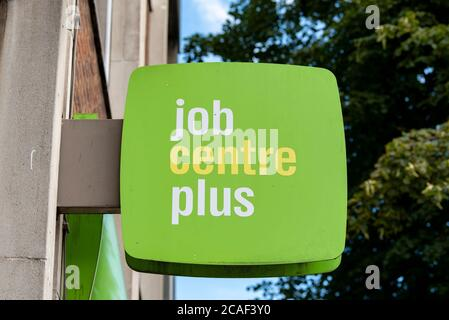 A view of a Sign on the Marylebone Jobcentre Plus office.The Bank of England today warned that parts of the economy might never recover from coronavirus - with unemployment set to rise by a million within months as GDP plunges 9.5% - with the slump set to be the worst in a Century. - Stock Photo