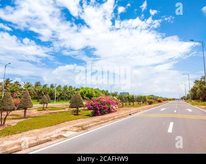 Beautiful view of wide open road with a paved highway stretching out as far as the eye can see with small green hills, pink flowers under a bright