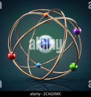 Fictitious atom model with core and orbiting spheres. 3D illustration. - Stock Photo