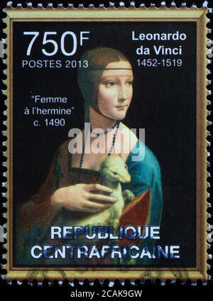 Lady with an Ermine by Leonardo on african stamp - Stock Photo