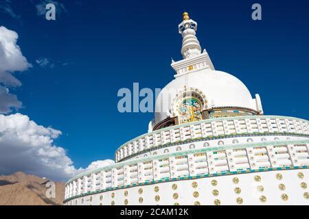 Ladakh, India - Shanti Stupa in Leh, Ladakh, Jammu and Kashmir, India. - Stock Photo