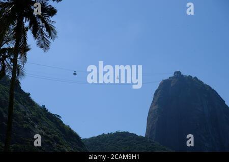 Brazil Rio de Janeiro - Sugarloaf Mountain - Pao de Acucar from Red Beach - Stock Photo