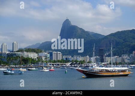 Brazil Rio de Janeiro - Urca Bay Marina with Mount Corcovado in background - Stock Photo