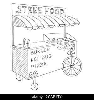 Food truck graphic black white isolated sketch illustration vector Stock Photo