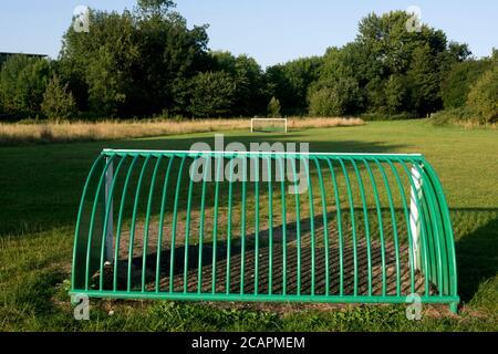 Children`s football goals on Saltisford Common, Warwick, Warwickshire, England, UK - Stock Photo