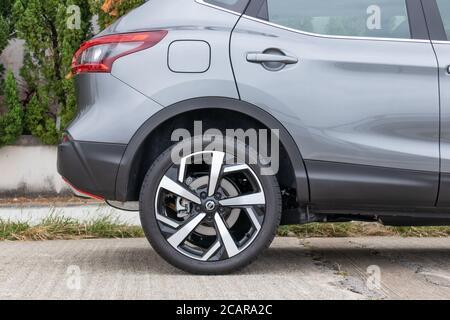 Hong Kong, China Jan 21, 2020 : Nissan Qashqai 2020 Wheel Jan 21 2020 in Hong Kong. - Stock Photo