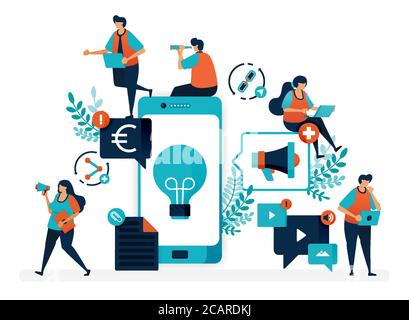 Business ideas by promoting products via mobile. Advertising and marketing with smartphone to profit. Flat vector illustration for landing page, web, - Stock Photo