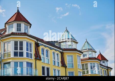 View to the facade of a house in the small Baltic Sea town of Bansin on the island Usedom in Germany. - Stock Photo